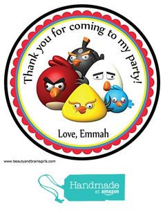 Angry Bird Personalized Stickers Birthday Party Favors - Treat Tag Toppers- 24 Stickers Popular Size 2.5 Inches. Peel- and- Stick Backing Self-Adhesive Stickers from Custom Party Favors, Handmade Craft , and Educational Products http://www.amazon.com/dp/B01E9NXLAO/ref=hnd_sw_r_pi_dp_v7Xjxb0V73QJA #handmadeatamazon