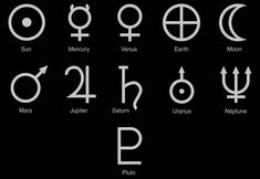 Solar System Symbols. The symbols for the planets, dwarf planet Pluto, Moon and…