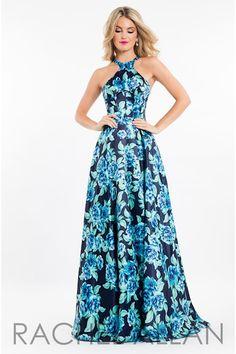 Rachel Allan 7572. Stunning navy blue and aqua colored dress. Love the halter style neck!