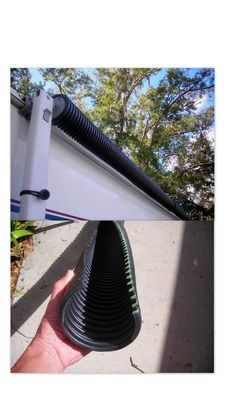 DIY awning cover: Make an economical protective cover for a roll up awning when trailer is stored at home. Use two section of black corrugated black drain field pipe without holes. Use a battery saw and cut a two inch section out the length of both pipes. They snap over the rolled up awning, blocking hail and sun light.: