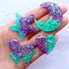 Glittery Galaxy Gradient Cabochons | Moon Star Heart Unicorn Cabochon | Kawaii Resin Cabochon with Glitter | Magical Girl Decoden Phone Case | Mahou Kei Jewelry DIY (4pcs / Purple Aqua Blue / Flat Back)