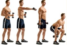 Boxer's Punch and Dumbbell Squat.   With a 5-pound dumbbell in each hand, throw 32 punches, alternating lefts and rights.  Then let your arms hang loosely at your sides and place your feet slightly wider than hip-width apart. Bend at the hips and knees to lower your body until your thighs are parallel to the floor, and then press back up. Complete 16 squats. Repeat the sequence once. #fitness #crossfit #exercise #crossfit #wod #health