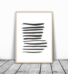 Black Brush Strokes, Modern Art Print, Minimalist Wall Print, Line Art, Modern Art Download, Modern Printable Art, Abstract Art Download