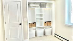 Custom Full Width Kids Closet with Toy Bins White Closet, Toy Bins, Kid Closet, Ana White, Storage Bins, Diy Furniture, Kids Room, Woodworking, Shelves