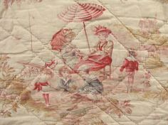 Vintage French quilt ~ amazing beach scenes dating c1910 ~ faded to perfection