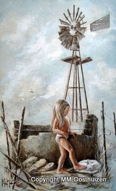 Art Painting by Maria Magdalena Oosthuizen includes Windmill, this example of Contemporary Art has inspired this exceptionally talented artist. View other Paintings by Maria Magdalena Oosthuizen in our Online Art Gallery. Texture Painting, Painting & Drawing, South Africa Art, Windmill Art, South African Artists, Paintings I Love, Original Paintings, Painting People, Angel Art