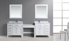 Two London Single Sink Vanity Set in White with Drawers on the Right and Left with Make up Table Single Sink Vanity, Vanity Set, Double Vanity, Modern Vanity, Modern Bathroom, Free Standing Vanity, Bathroom Vanities, Home Remodeling, Drawers