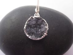 Natural druzy and sterling silver necklace by underhercharm, $48.00