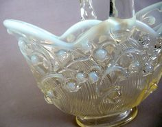 Fenton Lily of the Valley Glass Basket by basicallyBaca on Etsy