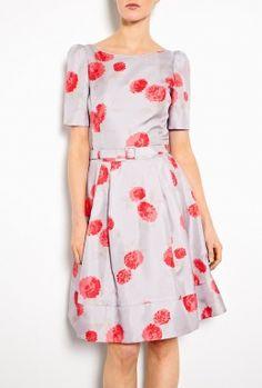 Suzannah Fifties Slash Neck Oriental Bloom Print Dress