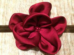 Beautiful Burgundy!   Large, Burgundy Satin Flower with Center Details  $8