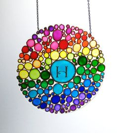Initial Suncatcher, Hand Painted Multi Coloured Bubbles Window Hanging…