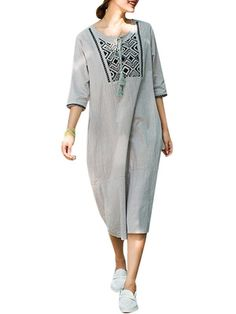 Ethnic Embroider Loose Tassel Quarter Women Robe Dress - Gchoic.com