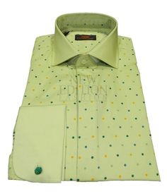 Steven Land Mens Polka Dot 100% Cotton French Cuff Dress Shirt DS1212 Lime Green