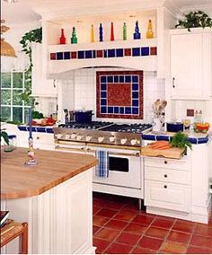patterned kitchen tiles white kitchen with saltillo tile tile appearance 1428
