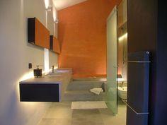 Bathroom, Orange Walls, Glass Door, Torre Moravola Boutique Hotel in Montone, Italy