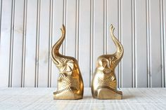 Brass Elephant Bookends // Solid Brass // Trunks Up = Good Luck // by genrestoration on Etsy