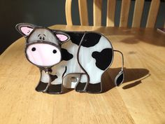 Stained Glass Cow Night Light/ Sun Catcher by CraftsbyTine on Etsy