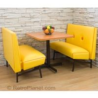 1960s 1970s style mod kitchen diner booth set shown in marigold