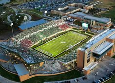 University of North Texas Mean Green - aerial of night game at new Apogee Stadium College Years, My College, Date, Texas Stadium, Denton Texas, University Of North Texas, Mean Green, Alma Mater, Places To Visit