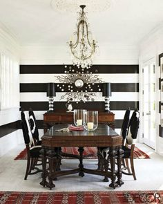 """Black and white striped rooms.  From """"apartmenttherapy"""""""