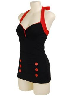 Amazon.com: Black Vintage Retro Pin up Rockabilly Sailor Nautical Womens Bathing Suit Swimsuit Swimwear