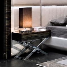 cross framed bedside cabinet (nightstand) and hotel styling contemporary bedroom