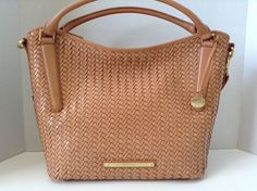 Brahmin Norah Hobo Shoulder Bag Tobacco Woven Luxe Leather L05561TO | eBay