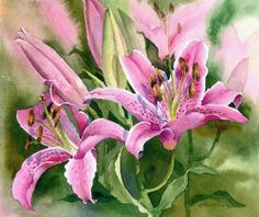 Mini Gallery Watercolour Painting by Rachel McNaughton Watercolor Artists, Watercolour Painting, Watercolor Flowers, Art Floral, Lily Painting, Rose Lily, Day Lilies, Stargazing, Flower Art