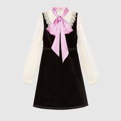 Velvet dress with bow - Gucci Women's Dresses 441556ZHV011861