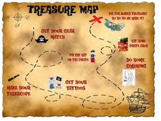 A Treasure Map that is an itinerary for the party! I believe children. A Treasure Map t Fairy Birthday Party, Pirate Birthday, 6th Birthday Parties, Birthday Ideas, 4th Birthday, Pirate Theme, 1st Birthdays, Treasure Maps, Pirate Treasure