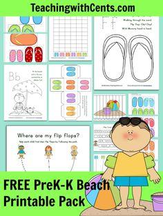 Free Beach Printable Pack for PreK-K from Teaching with Cents. Beach Theme Preschool, Preschool Themes, Preschool Classroom, Preschool Learning, Educational Activities, Fun Learning, Teaching Kids, Activities For Kids, Montessori Activities