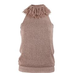 BRUNELLO CUCINELLI Fringe Halter with Silk ($650) ❤ liked on Polyvore featuring tops, blouses, halter-neck tops, brown halter top, silk halter top, fringe halter top and silk top