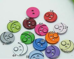 10 pcs 0.55 inch Children Face 2 Hole Resin Shell Buttons by FeiYa
