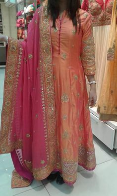 Stunning Coral And Magenta Embroidered Anarkali Suit Buy Online Indian Wedding Fashion, Indian Wedding Outfits, Pakistani Outfits, Indian Outfits, Indian Fashion, Red Lehenga, Anarkali Dress, Anarkali Suits, Lehenga Choli