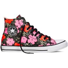 Converse Chuck Taylor All Star Andy Warhol Floral – poppy red/fuchsia... ($50) ❤ liked on Polyvore featuring shoes, sneakers, converse, red trainer, converse shoes, glow in the dark sneakers, white shoes and white trainers