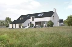 New Family house overlooking the sea. Planning received May 2015 Farmhouse Architecture, Architecture Design, House Designs Ireland, Long House, Rural House, Dream House Plans, Home Design Plans, Modern Farmhouse, Modern Barn