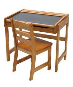 Look at this #zulilyfind! Pecan Kid's Chalkboard Desk & Chair by Lipper International #zulilyfinds