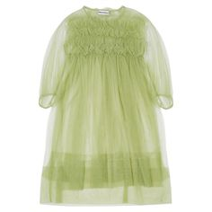 Molly Goddard Betty Dress (Green) via Polyvore featuring dresses, green day dress, green color dress et green dress