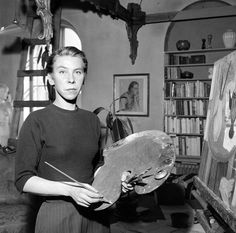 Tove Jansson in her Finnish art studio atelier 1956 Mary Blair, Tove Jansson, Walter Lantz, Workshop, Miss Moss, Going To University, Great Love, Artist Art, How Are You Feeling