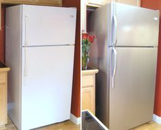 Transform Your Furniture And Appliances With Stainless Steel Paint Refrigerator makeover with Thomas' Liquid Stainless Steel Home Improvement Projects, Home Projects, Refrigerator Makeover, Painting Refrigerator, Painting Appliances, Stainless Steel Paint, Stainless Steel Contact Paper, White Appliances, Bosch Appliances