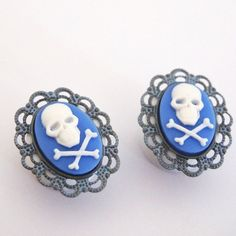 Steel Blue Skull and Crossbones 5/8 inch 16mm by Glamsquared