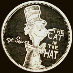 DOUG J. LARSON HOBO COIN - THE CAT IN THE HAT - CANADIAN 25 CENT PIECE Hobo Nickel, Coins, Carving, Personalized Items, Hats, Rooms, Hat, Wood Carvings, Sculptures