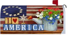 "America - Mailbox Makeover Cover - Country ART by Custom Decor. $18.99. Measures 18"" wide and uses magnets to fit a standard mailbox.. Premium outdoor grade vinyl for long-lasting, vivid image.. Please see our other listings for a large selection of large and small garden flags and mailbox covers, as well as 3-D spinners and motion art. We also carry collegiate flags, mobiles and collegiate windsocks.. You will love the vibrant colors of this American made mail..."