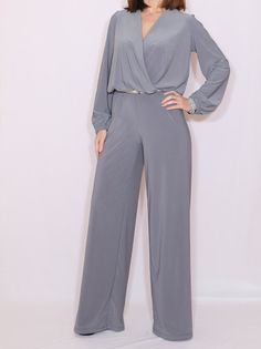 73aed5e4604 Items similar to Long sleeve jumpsuit wide leg jumpsuit Gray jumpsuit Wrap  top on Etsy · Wrap JumpsuitJumpsuit With SleevesBlack JumpsuitDressy Pant  ...