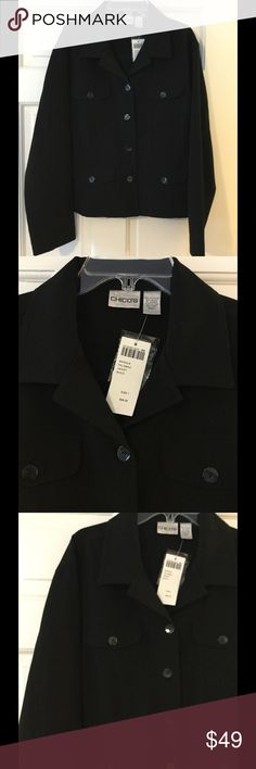 """🆕 Chico's sz 1 Magique Palomino Jacket Fabulous stretch pointe jacket with front button close. Polyester/rayon/spandex. Chico's size 1 is equivalent to a size medium. Underarm across 20"""". Length 22"""". Brand new with tag. Retail price $98. Chico's Jackets & Coats"""