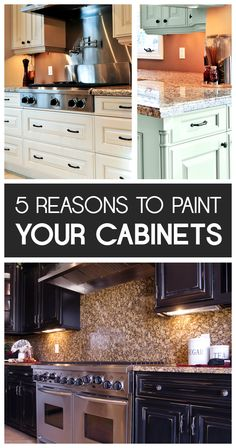 5 Reasons to Paint Your Kitchen Cabinets There are so many great reasons to transform your tired old kitchen cabinets. Here are some reasons you repaint your kitchen cabinets. Old Kitchen Cabinets, Kitchen Redo, Kitchen Remodel, Kitchen Design, Stock Cabinets, Green Cabinets, Kitchen Colors, White Cabinets, Kitchen Ideas