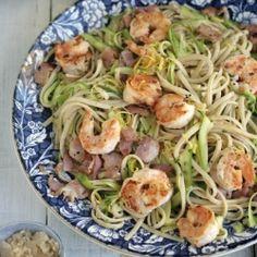 | chili + garlic prawn + linguini : bacon + zucchini + lemon |