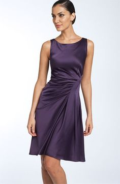 Free shipping and returns on Tahari by Arthur S. Levine Ruched Satin Dress at Nordstrom.com. Beautiful seaming emphasizes the flattering fit of a sleeveless stretch-satin dress with a ruched waist and softly flared A-line skirt.