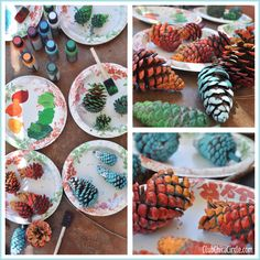 Ombre Painted Pine Cone Fall Craft Idea then put them in a glass vase to display! Christmas Crafts For Kids, Fall Crafts, Holiday Crafts, Holiday Fun, Autumn Decorating, Fall Decor, Fall Halloween, Halloween Crafts, Ombre Paint